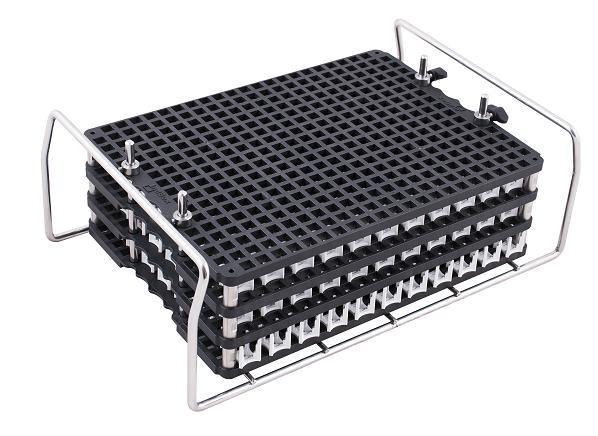 indBox: telaio inox per piastre con anelli di bloccaggio